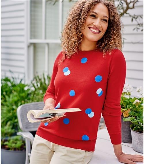 Womens Crew Neck Spot Sweater