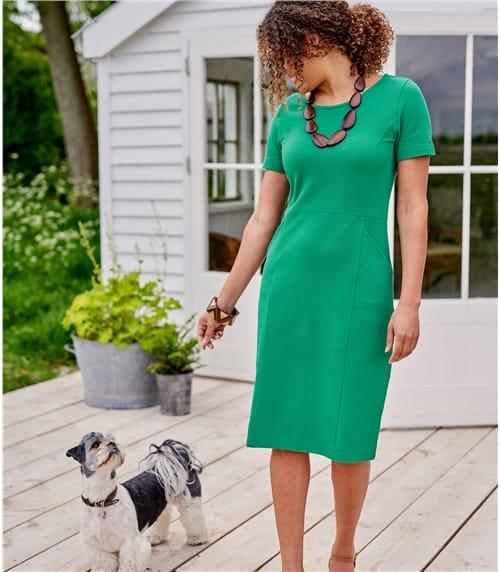 Kurzärmeliges Jerseykleid aus Baumwolle mit geringem Elastananteil für Damen