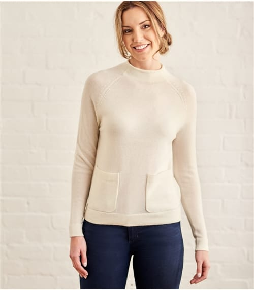 Womens Cashmere and Merino Funnel Neck Pocket Detail Sweater