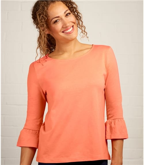 Womens Ruffle Sleeve Top