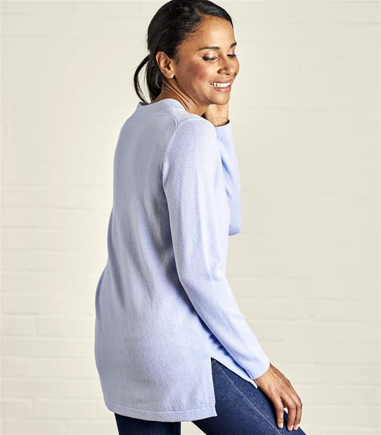 Womens Cashmere and Merino Relaxed V-Neck Tunic