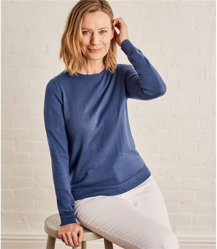 Womens Cashmere and Cotton Crew Neck Sweater