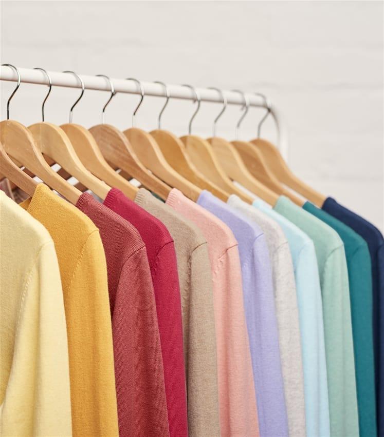Pullover mit V-Ausschnitt aus Kaschmir und Baumwolle für Damen