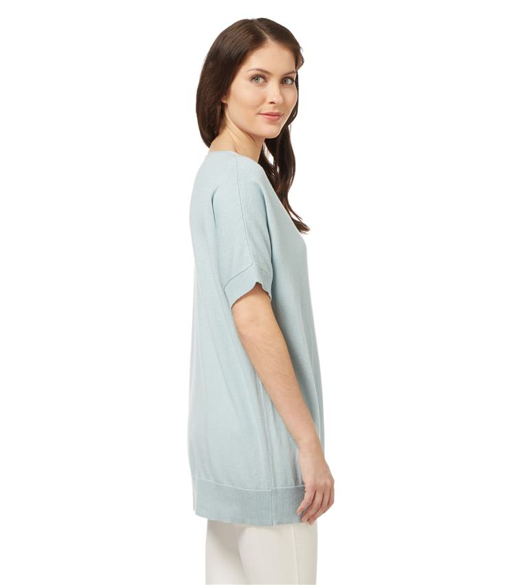 Womens Cashmere and Cotton Short Sleeve Tunic