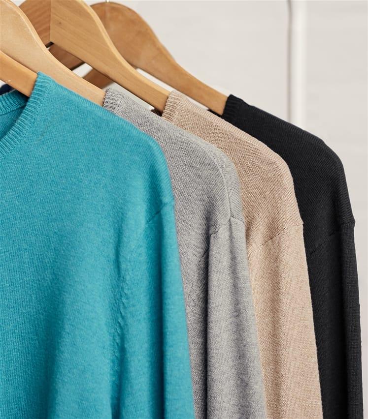 Pullover mit Rundhalsausschnitt aus Seide und Baumwolle für Herren
