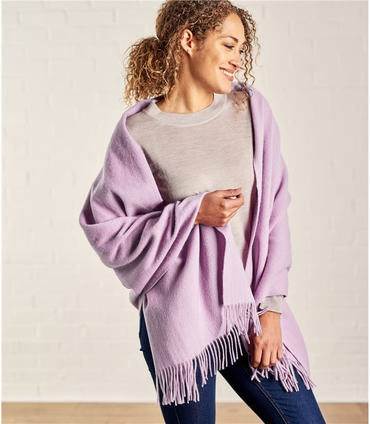 Womens Pure Wool Fringed Scarf
