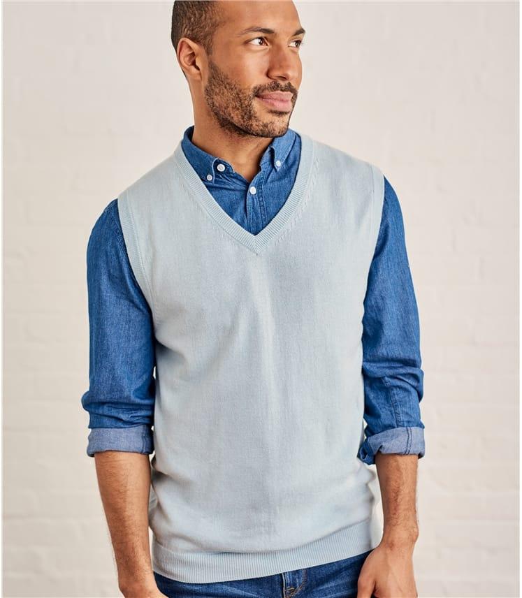 Pullunder mit V-Ausschnitt aus Kaschmir und Baumwolle für Herren