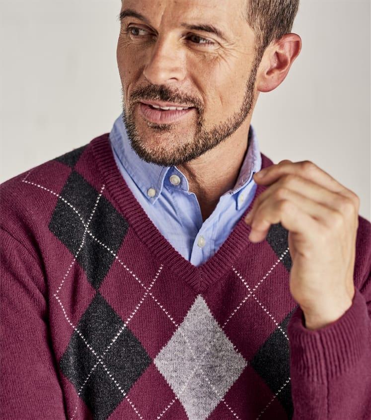 Мужской пуловер с ромбами из натуральной шерсти ягненка
