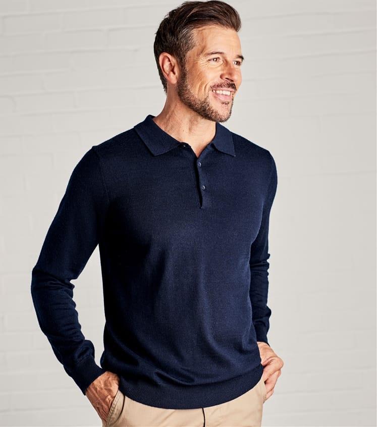 Mens New Merino Long Sleeve Polo Shirt