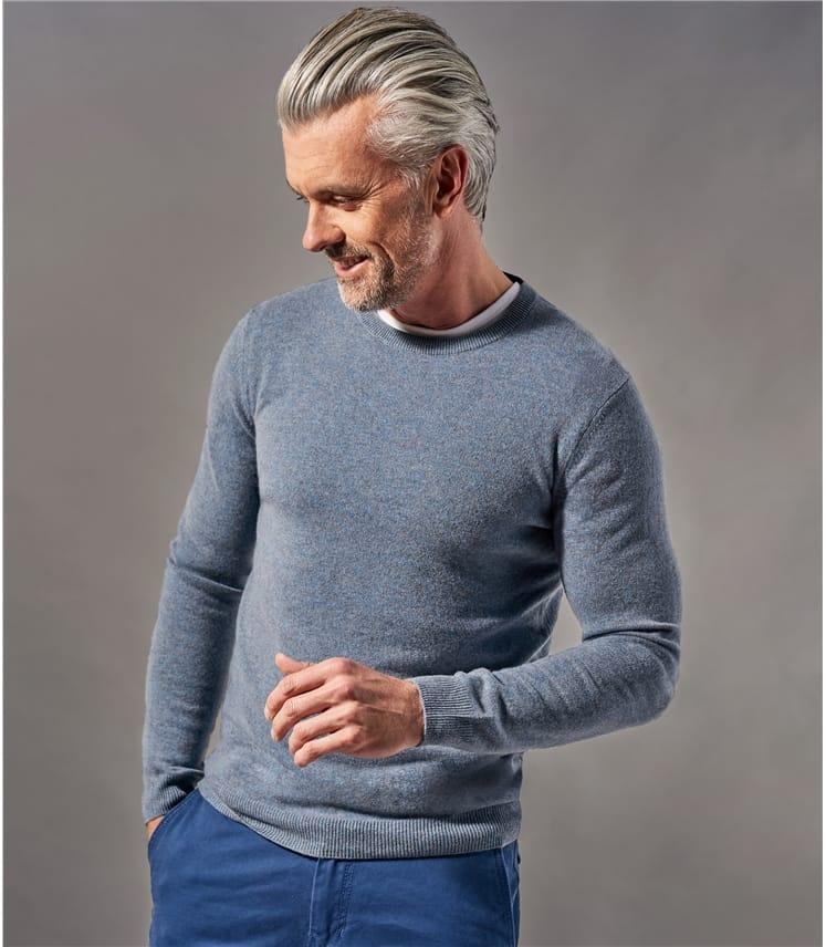 Mens Pure Cashmere Crew Neck Sweater