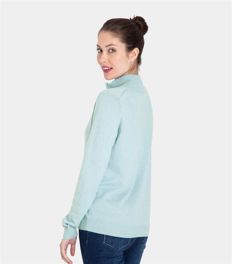 Womens Cashmere and Cotton Zip Neck Jumper