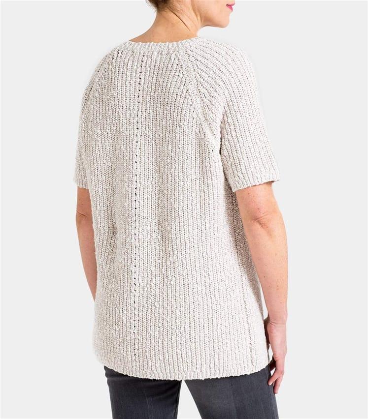 Womens Linen and Cotton Pointelle Detail Slub Knit Jumper