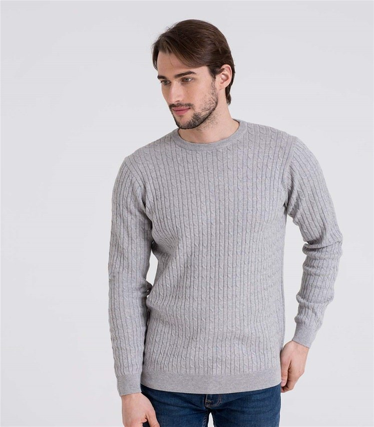Mens Cashmere and Cotton Cable Crew Neck Sweater