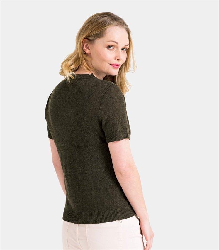 Womens Lightweight Linen Mix Short Sleeve Cardigan