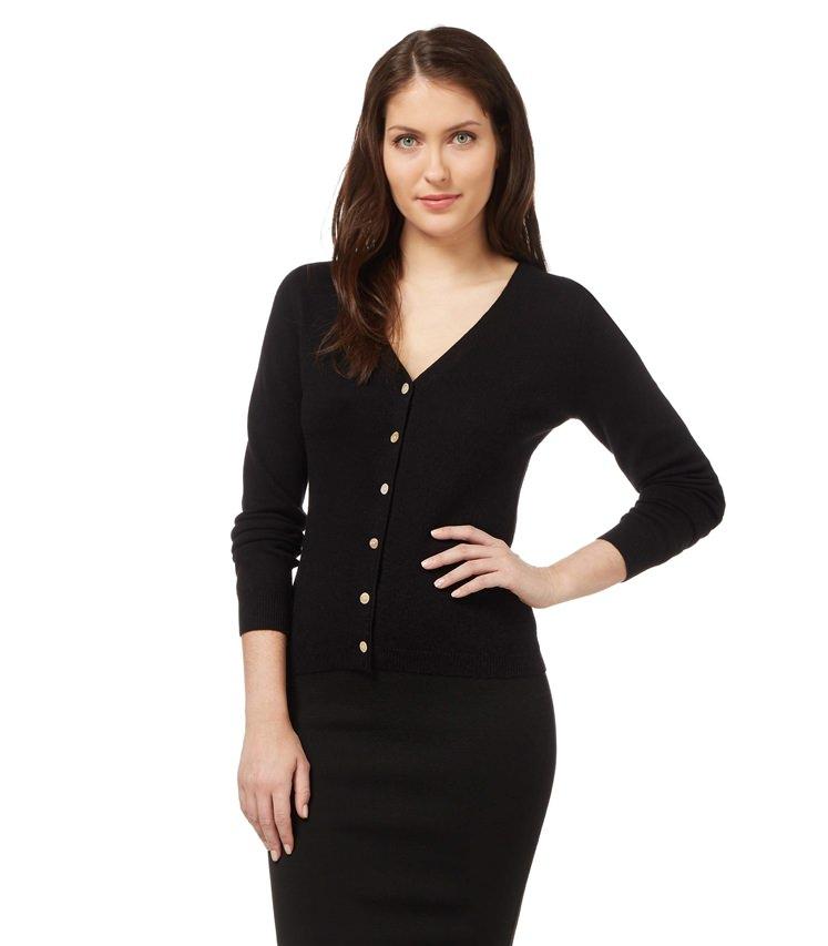 Womens Cashmere and Merino Luxurious V Neck Cardigan