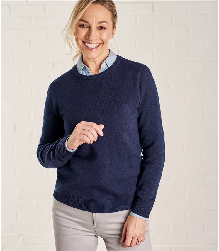 Womens Cashmere and Merino Crew Neck Knitted Sweater