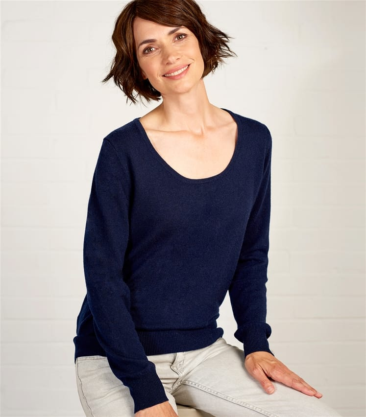 Womens Cashmere and Merino Scoop Neck Sweater