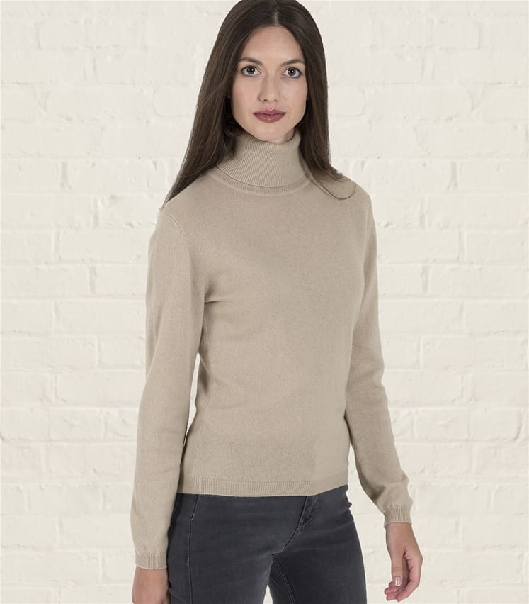 Womens Cashmere and Merino Fitted Turtle Neck Knitted Sweater