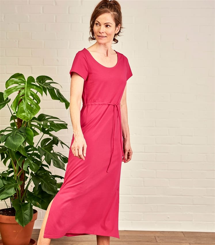 Womens Maxi Tie Waist Jersey Dress