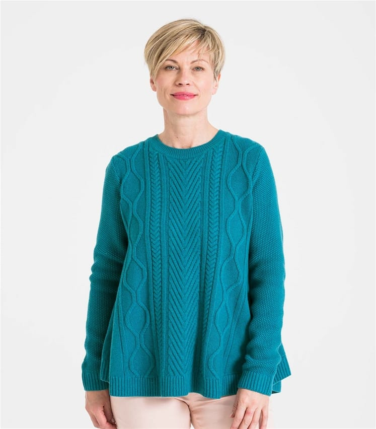 Womens Cable Front Swing Sweater