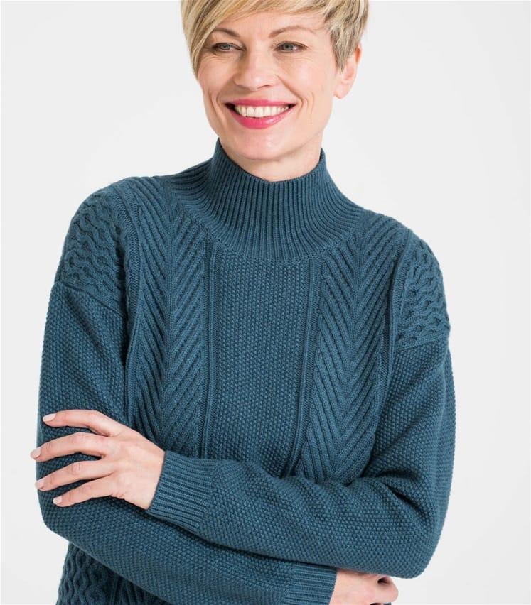 Womens Mixed Moss Stitch Turtle Neck Sweater