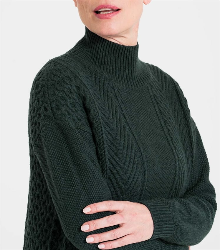 Womens Mixed Moss Stitch Turtle Neck Sweater