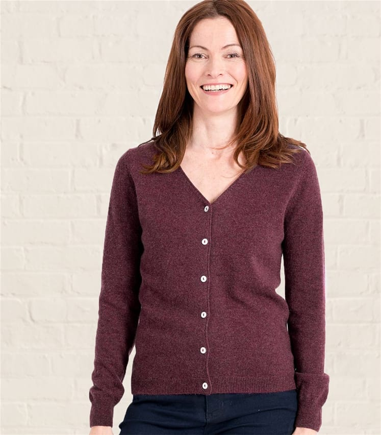 Womens Cashmere and Merino Luxurious V Neck Cardigan