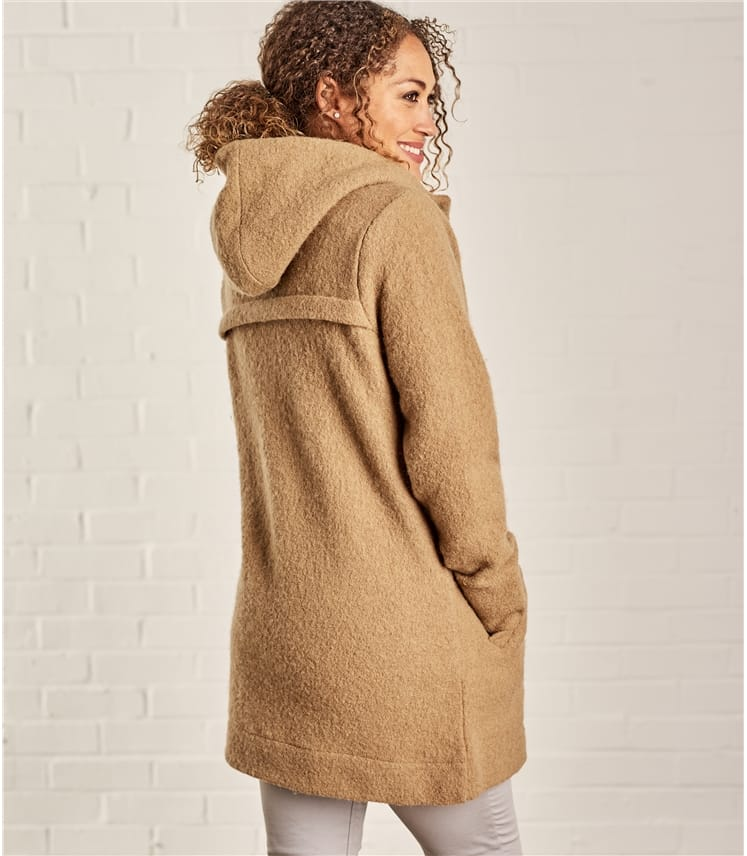 Womens Boiled Wool Hooded Coatigan