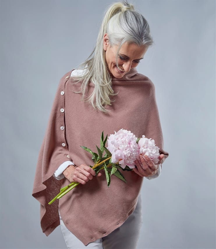 Poncho boutonné - Femme - Cachemire & Mérinos