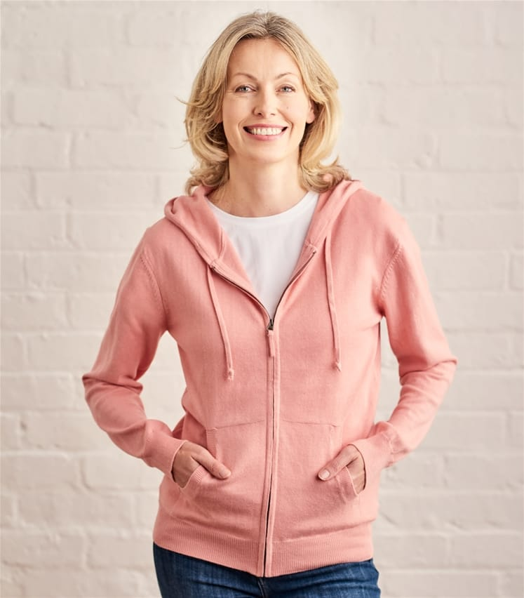 Womens Cashmere Cotton Zip Through Hoodie