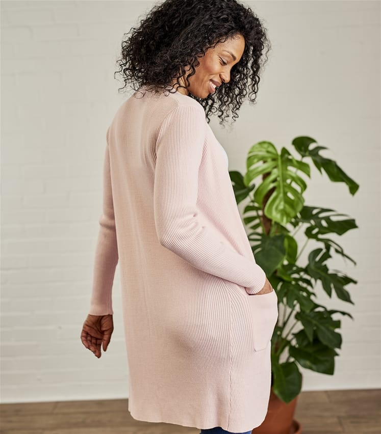 Womens Silk and Cotton Long Rib Cardigan