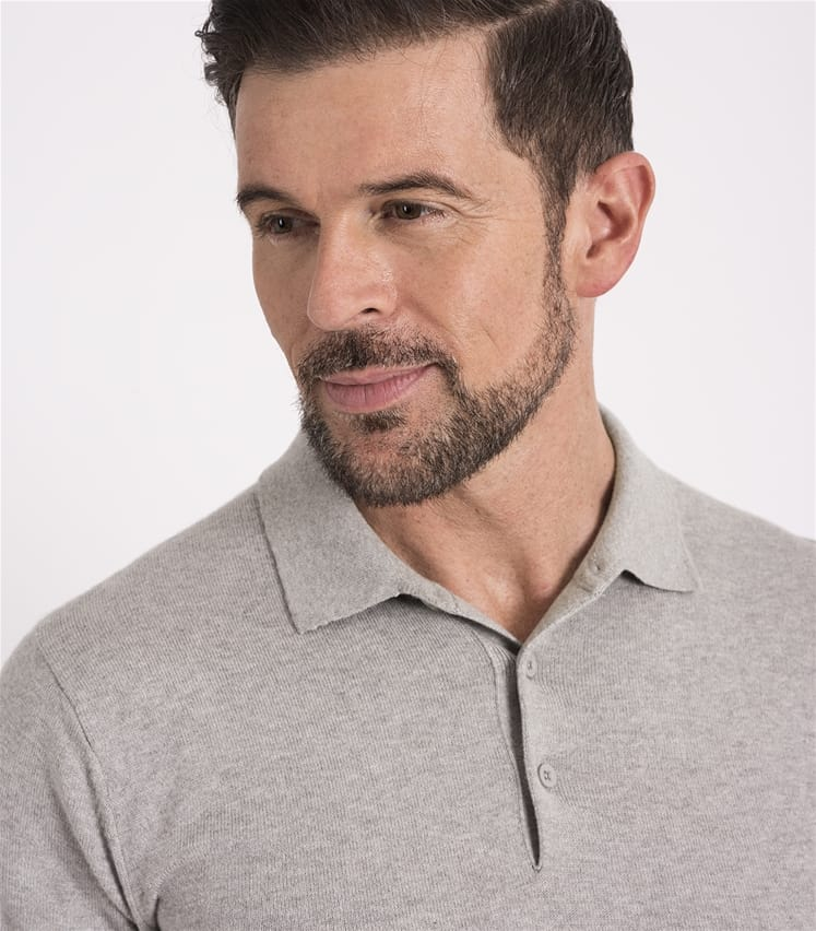 Mens Silk and Cotton Short Sleeve Knitted Polo Shirt