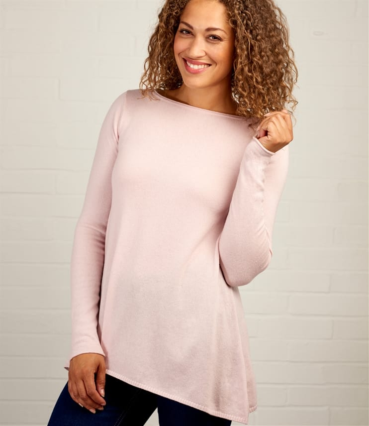 Womens Cashmere & Merino Hanky Hem Sweater