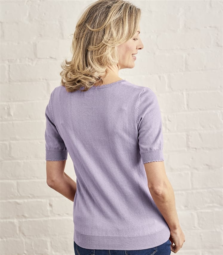 Womens Silk and Cotton Scoop Neck Short Sleeved Jumper