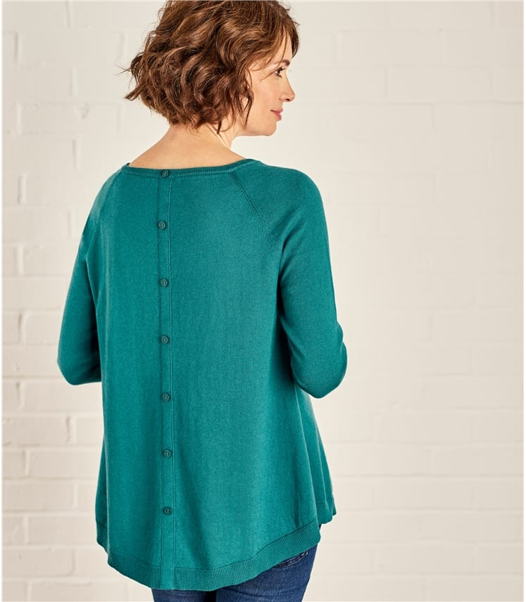 Womens Button Back Jumper