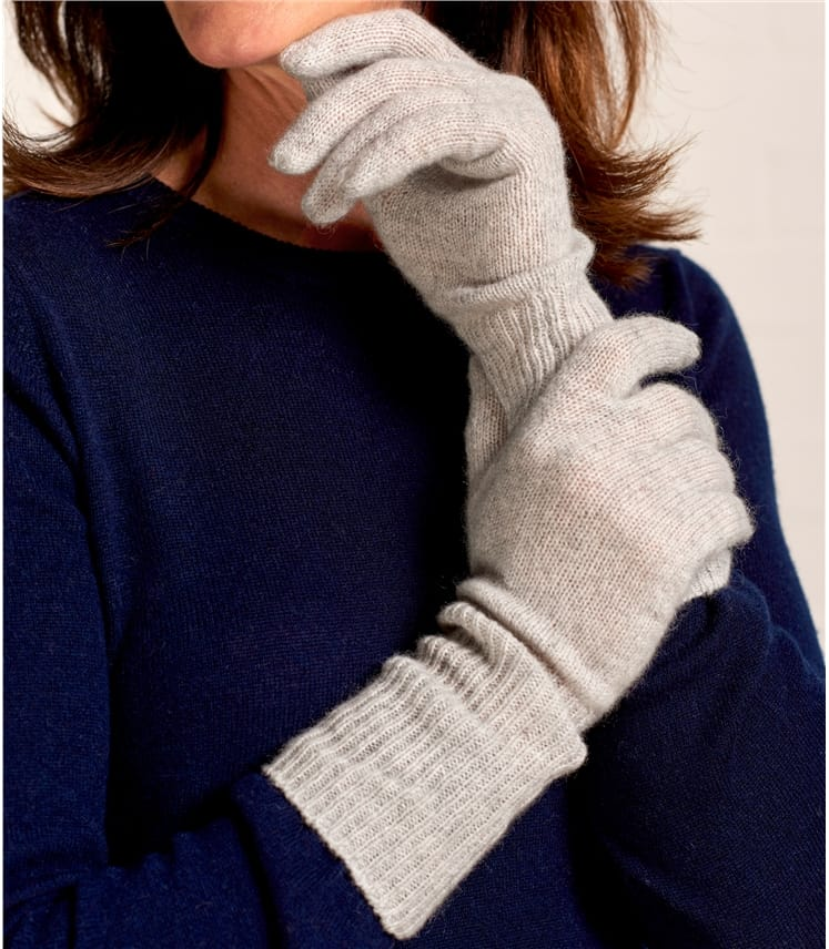 Womens Luxurious Pure Cashmere Long Rib Gloves