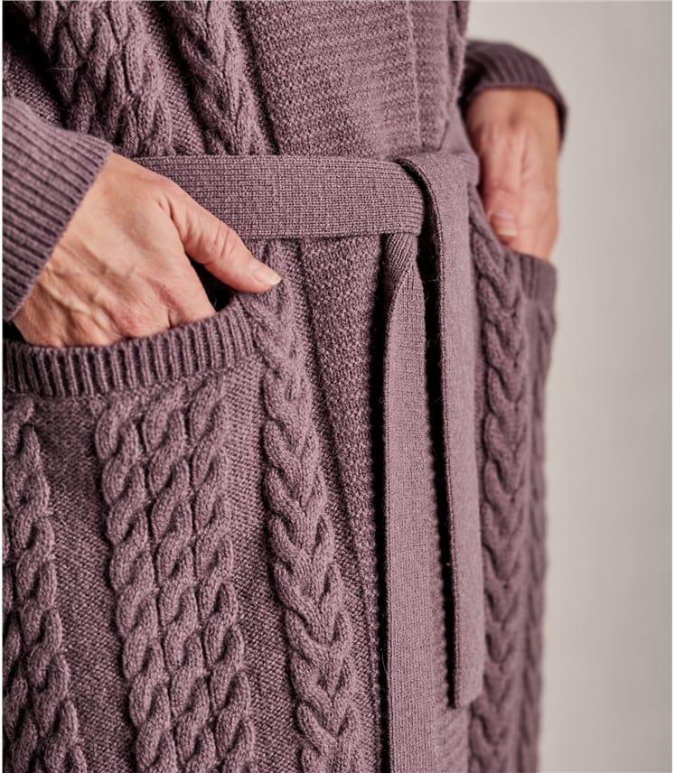 Womens Shawl Belted Cardigan