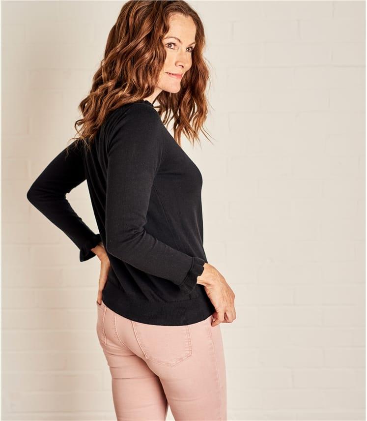 Womens Frill Neck Long Sleeve Sweater
