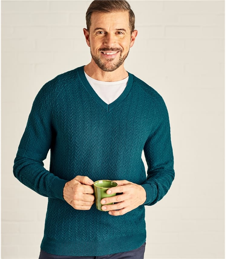 Mens Textured Stitch V Neck Sweater