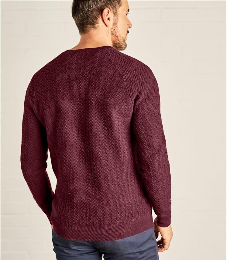 Mens Textured Stitch V Neck Sweater