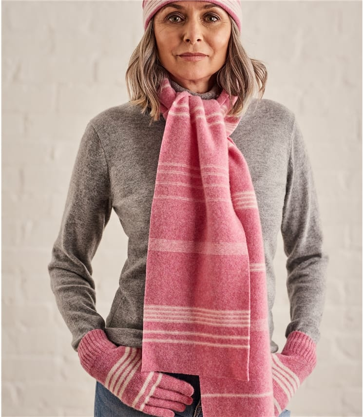 Womens Two Color Stripe Scarf