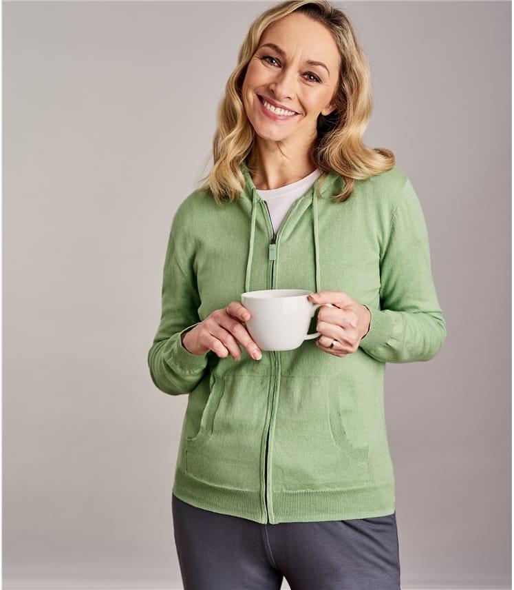Womens Cashmere & Cotton Zip Through Hoodie