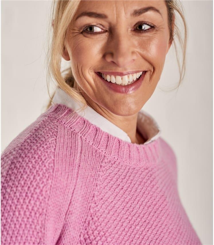 Womens Lambswool Moss Stitch Sweater