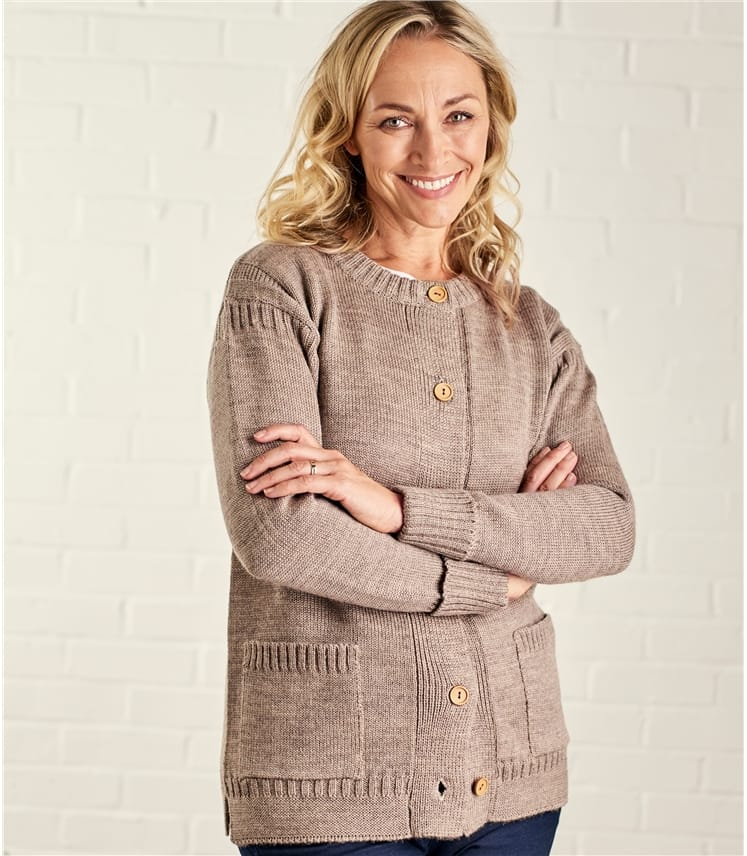 Womens Pure Wool Guernsey Long Crew Neck Cardigan