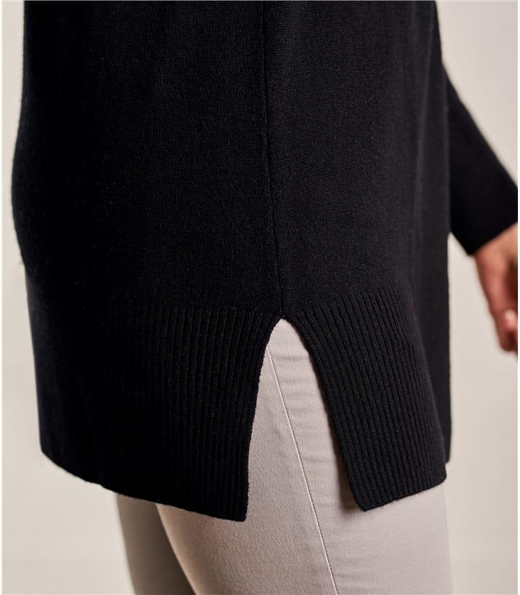 Tunika mit tiefem V- Ausschnitt aus Merino- und Kaschmirwolle für Damen