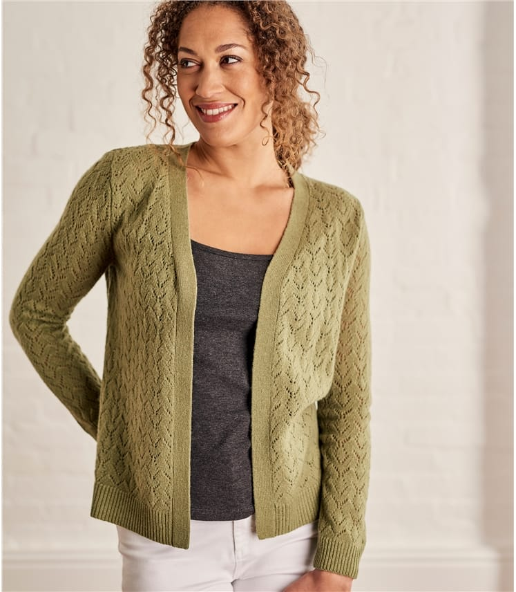 Womens Wool Alpaca Pointelle Coverup
