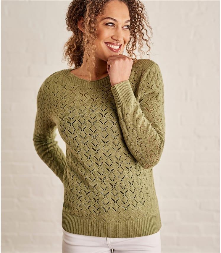 Womens Wool Alpaca Pointelle Boat Neck Jumper