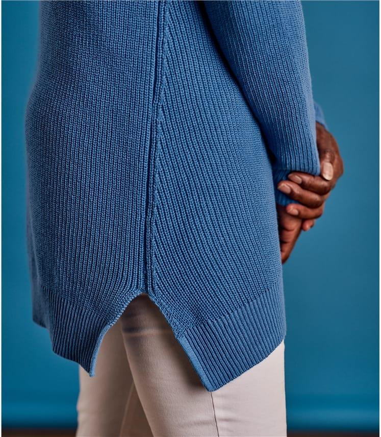 Womens Cotton Pointelle Detail Jumper