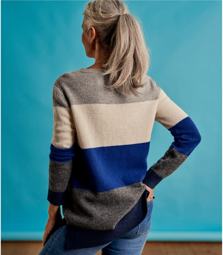 Womens Stripe Color Block Sweater
