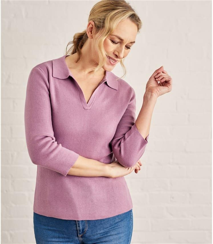 Womens Cotton Cashmere Open Turtle Neck Top